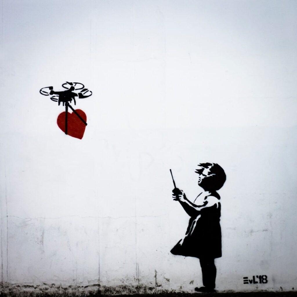 EvL's Drone Girl, Improvisation of Banksy's Balloon Girl